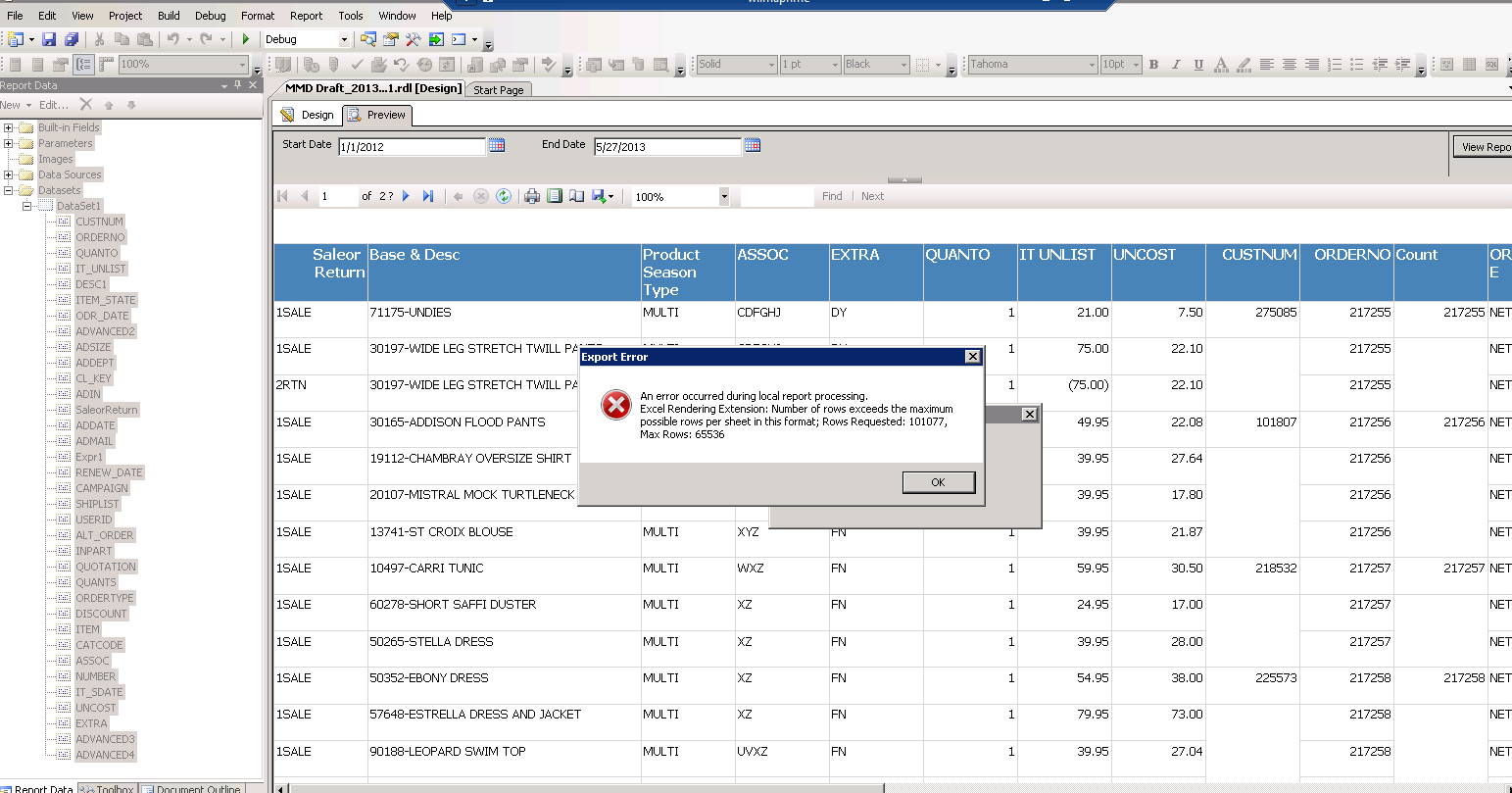 SOLUTION] SSRS Excel Export limits