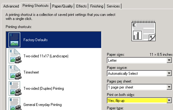 Change Printing Shortcut setting option to something else and then back to Factory Defaults