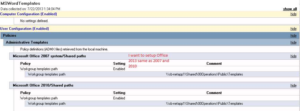 SOLUTION] GPO policy for Office 2013 workgroup templates path