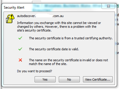 Security Certificate is invalid or does not match