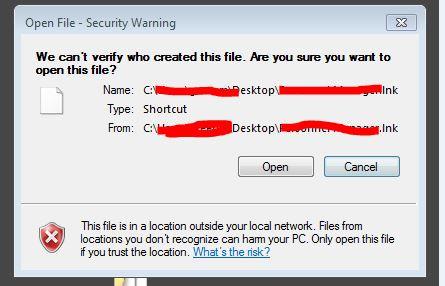 Open File Security Warning for Desktop  lnk shortcut files