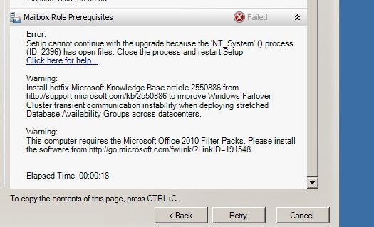 Exchange 2010 Service Pack 3 install failed on DAG server