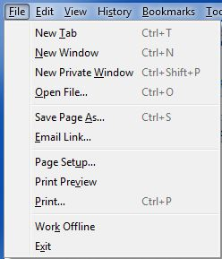 Firefox File menu dropped down captured with Snipping Tool