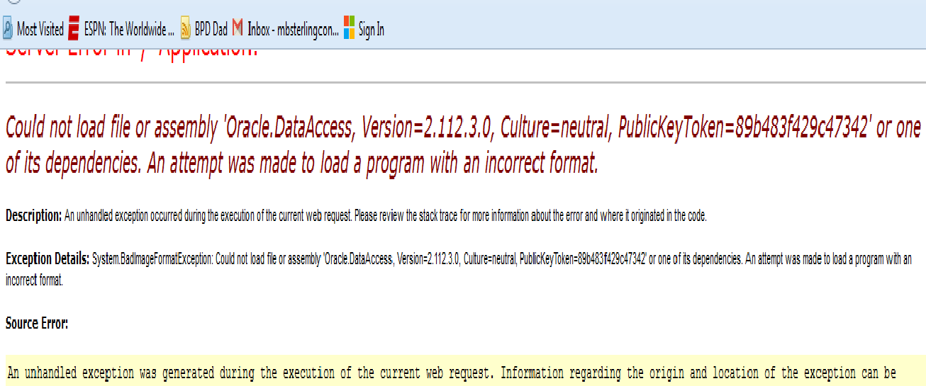 Recieving Following Error: System Data OracleClient requires
