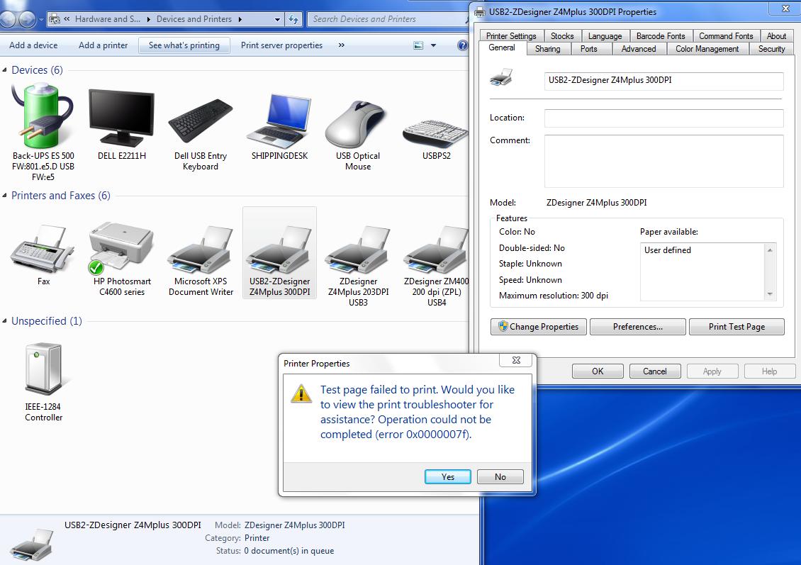 Windows 7, Printer Test Page,