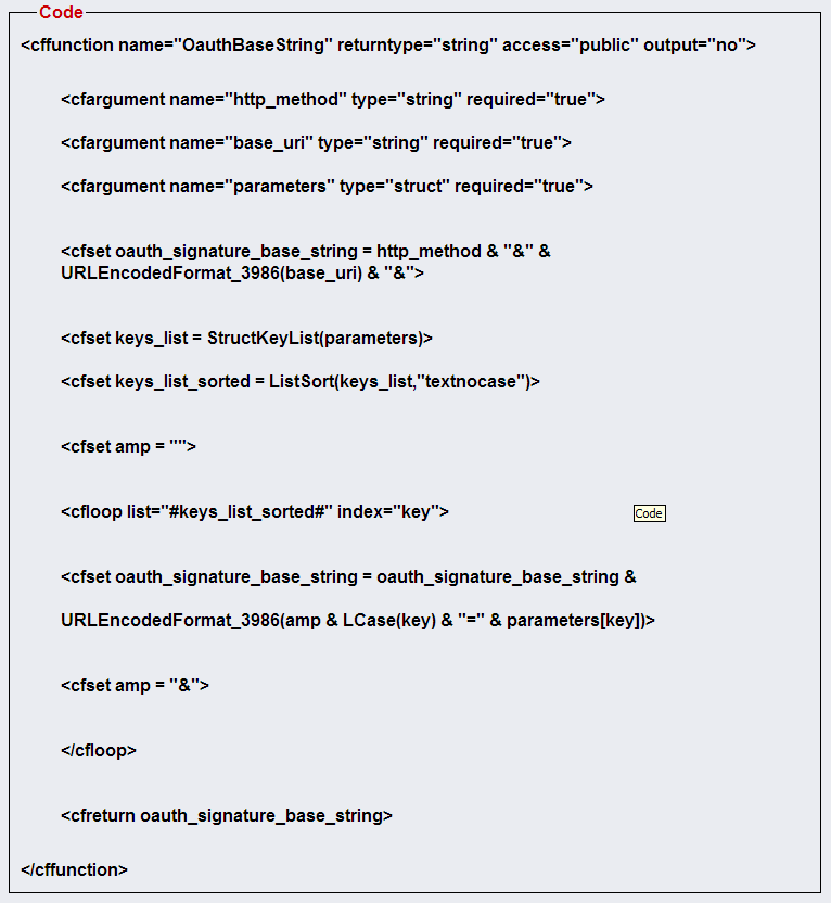 OAuth BaseString Function