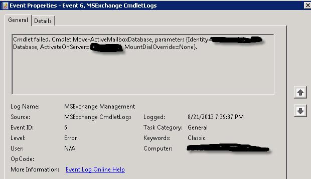 Database Move Failed