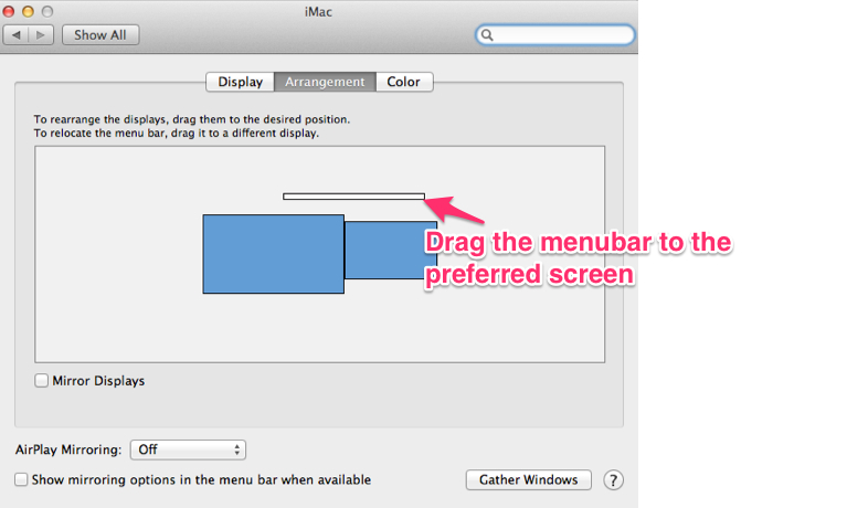 Changing the primary screen on OSX