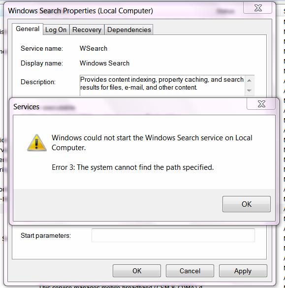 Windows Search Service Error
