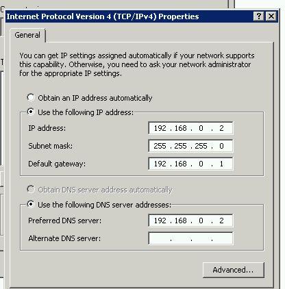 DNS Server network properties
