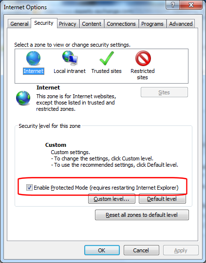 IE10 - Internet Options - Security - Protected Mode (click for larger)
