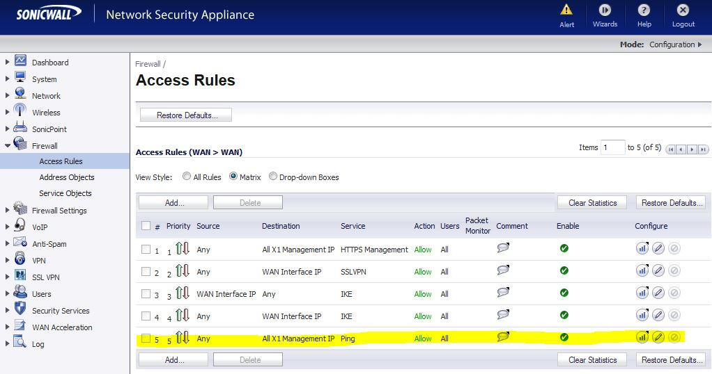 DANGER: Default Service Objects in SonicWALL platforms
