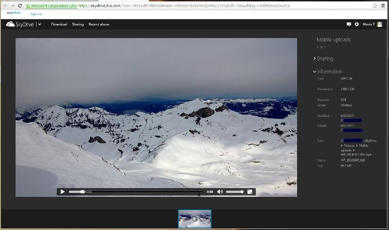 Playing video on skydrive