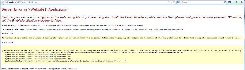 error message on page run