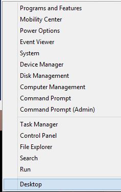 Windows 8 - Bottom Left Right Click