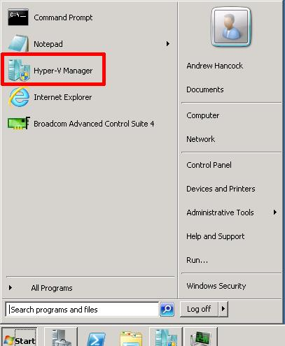 Start Hyper-V Manager on the server
