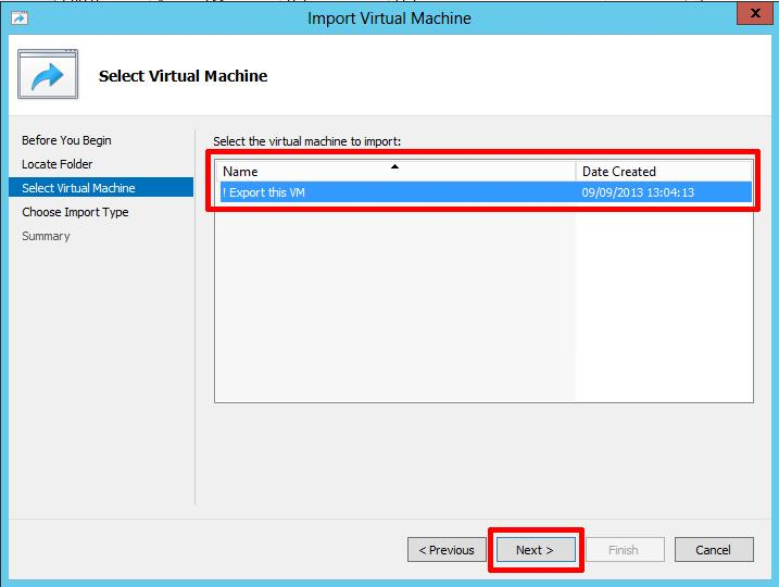 Select the virtual machine to import, followed by next