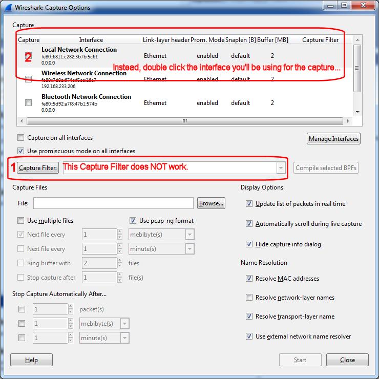 Wireshark - Capture Options (click for larger)