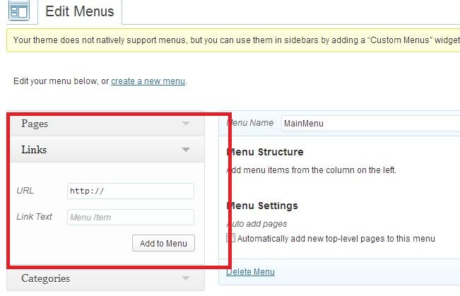 link menu