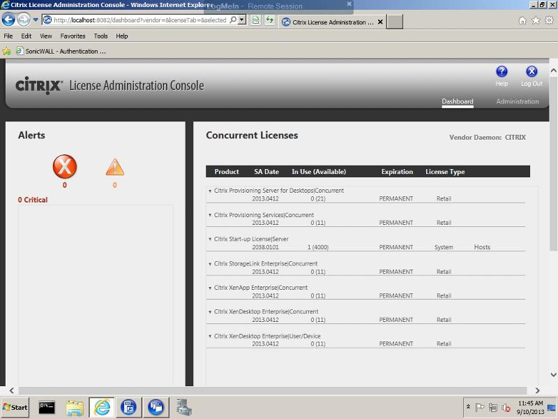 XenApp license dashboard