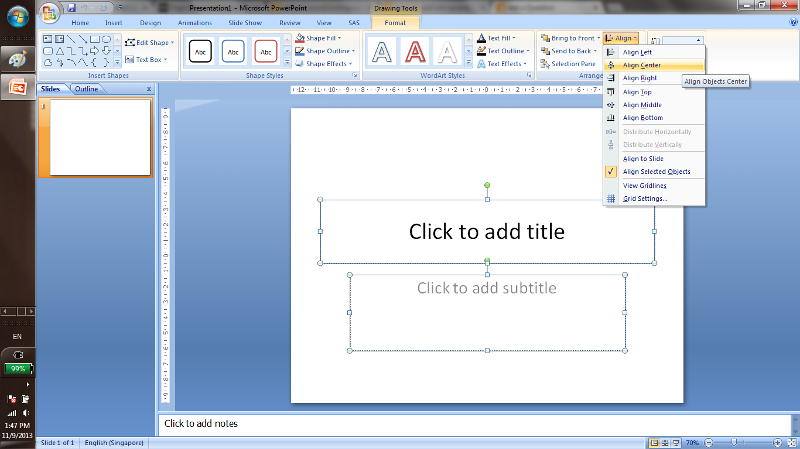 powerpoint has centre align