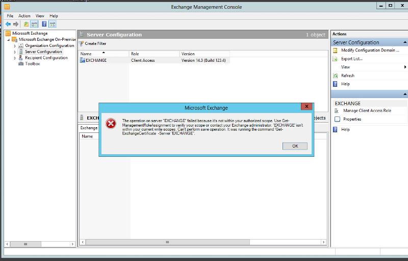 Exchange 2010 SP3 Error when accessing Server Configuration inside EMC