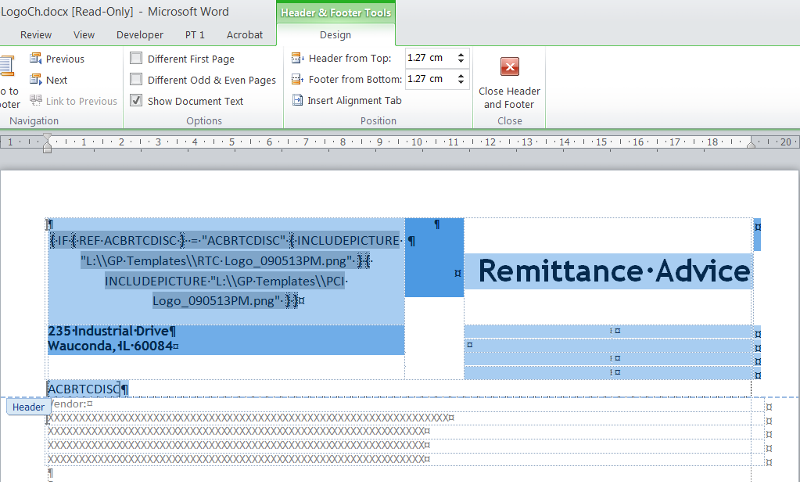 Screenshot showing If fields in word document