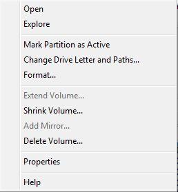 Drive context menu