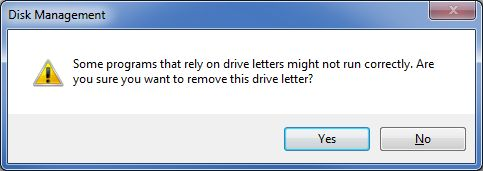 Remove drive letter warning