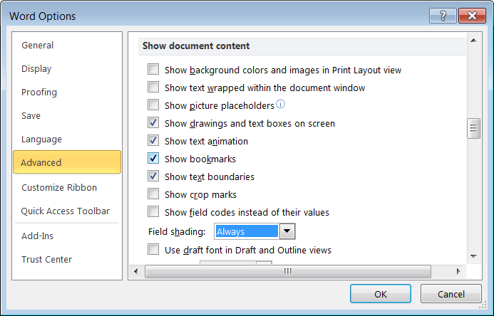 Word settings