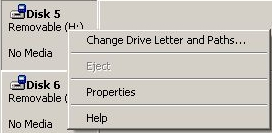 Context menu card reader disk