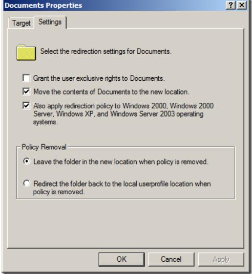 folder redirection options