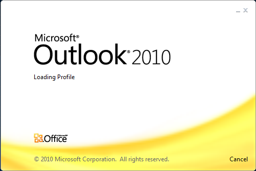 Outlook 2010 won't load