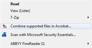 context menu combine files