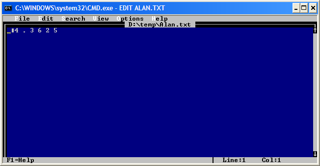 Alan.tx opened using  DOS prompt