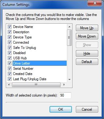 Column settings