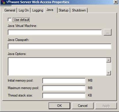 VMware Server Web Access Properties