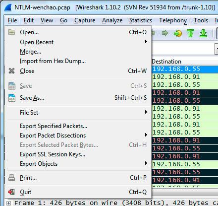 wireshark file menu