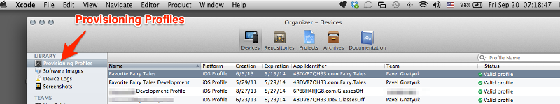 Provisioning Profile tab in the organizer
