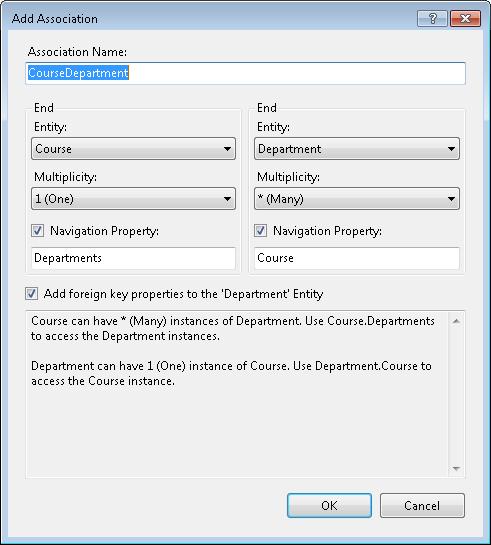 Add Association Dialog in Entity Framework Designer