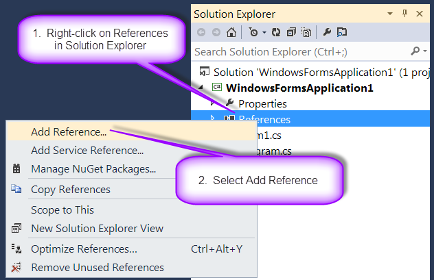 Select Add Reference from Solution Explorer