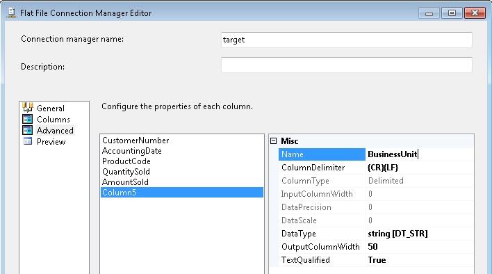 Flat file destination rename column names