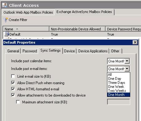 ActiveSync Policy Settings - Exchange 2010