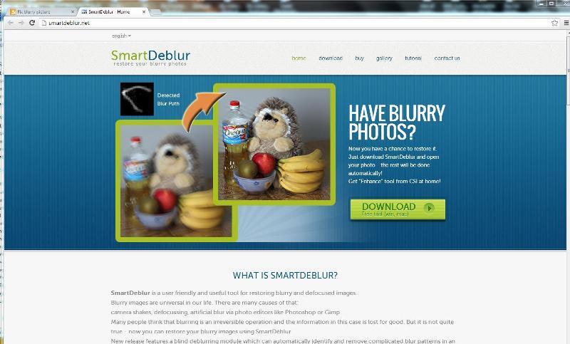 Smart Deblur web page