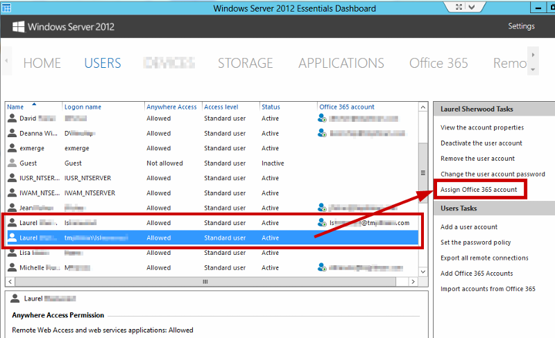 Screenshot of 2012 Dashboard / Users