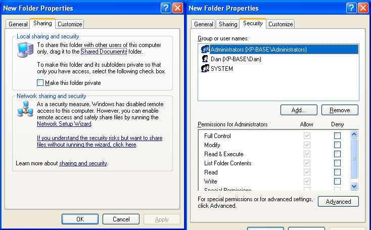 Simple file sharing: on (left) and off (right)