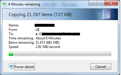 How can i see the transfer SPEED while copying files?