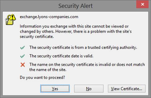 Outlook clients receiving Security Alert with SSL Certificate