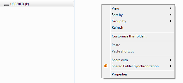 my flash drive where the New --> Folder menu item is missing