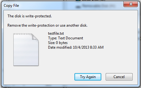 message when I try to put files on my flash drive